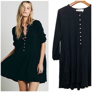 FREE PEOPLE Black Button Up Mini Dress Linen XS